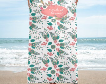 Maid Of Honor Beach Towel | Maid Of Honor Gift From Bride | Bridesmaid Beach Towel | Bridal Party Gift Beach Towel | Wedding Beach Towel