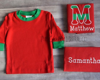 Christmas Pajamas-Simple Christmas Pajamas-Personalized Christmas Pajamas-Gender Neutral Pajamas-Matching Christmas Pajamas-Sibling Pajamas