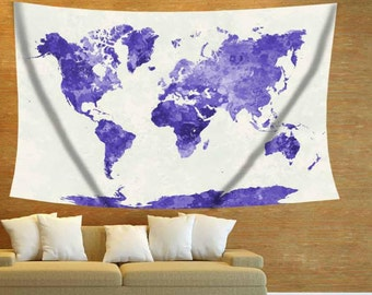World Map Tapestry Wall Hanging green watercolor mapgreen world maptapestry maprustic decor