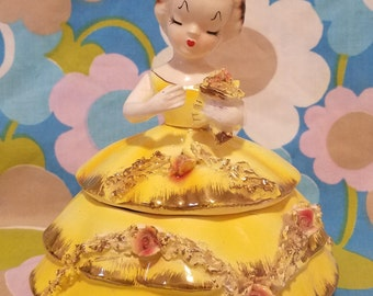 Beautiful Vintage powder jar-lady head-yellow gown