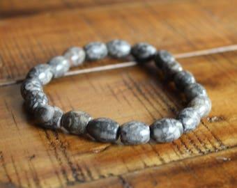Fossil Agate Stretch Bracelet - Mens Bracelet - Womens Bracelet - Stone Healing