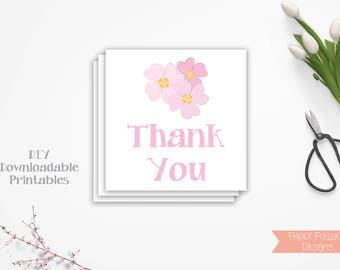 Flower Theme Favor Tag ~  Pink Thank You Tag ~ Pink  Baby Shower Decoration ~ Girl Baby Shower  ~ Printable Template  0032