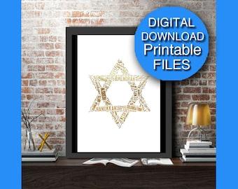Printable, Hanukkah Decorations, Gold Holiday Printable, Star of David, Chanukah A3 A4 8x10 16x20
