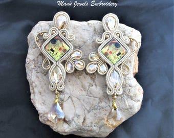 soutache earrings beige Klimt, soutache, soutache jewelry, handmade earrings, soutache jewels, klimt earrings, long earrings