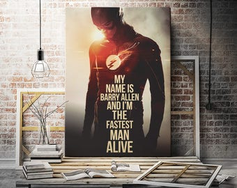 The Flash Superhero Poster Barry Allen wall art print quote decor gift canvas party birthday painting dc birthday for kids him her baby