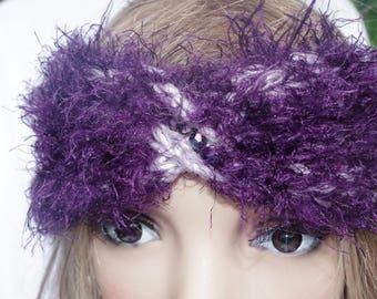 fluffy soft headband in purple tones