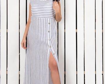Oversized summer dress, linen dress, maxi dress, long dress, boho dress, plus size dress, striped dress, spring dress, beach dress, spring