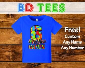 salesale LEGO Avengers Custom Birthday T-Shirt, Custom Name and Number 1st 2nd 3rd 4th 5th 6th 7th Birthday lego birthday shirt.