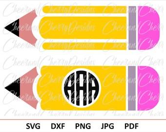 Pencil SVG Pencil Monogram svg School Monogram svg Teacher monogram svg Teacher Svg Pencil circle monogram Cricut File Pencil Silhouette svg