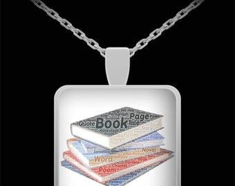 """Book Lover Necklace! Writer Poet Author Blogger Teacher Librarian Mom Gift Stack of books filled w/ book-related words! 22"""" Silver Necklace!"""