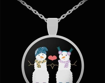 Snow Couple Valentine's I Love You Necklace Gift Anniversary Marry Me Be Mine Wedding Engagement Bridal