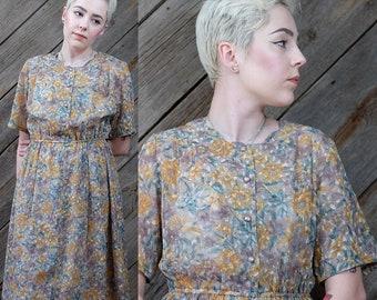 Yellow & mauve laced floral dress / Japanese Vintage / Pleats / 70s / Wedding / Bridal / Kawaii / Feminine / Romantic / Secretary / Size S-M