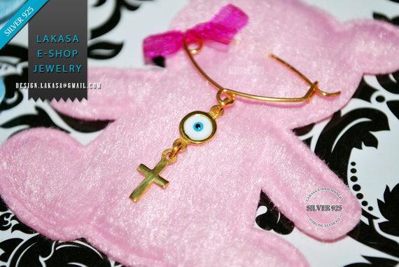 BEST Price Cross Enamel Eye Baby Brooch Sterling Silver Handmade Kids Jewelry Mother Happy Shower Day Religious Baptism Newborn It is a Girl