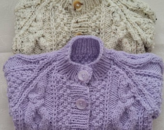 Hand knitted baby aran cardigans