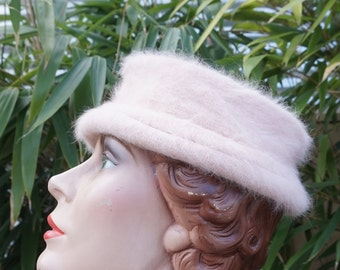 Gorgeous Soft Pink Super Soft Angora and Wool Slouchy Pill Box Hat made by Dasher Angora