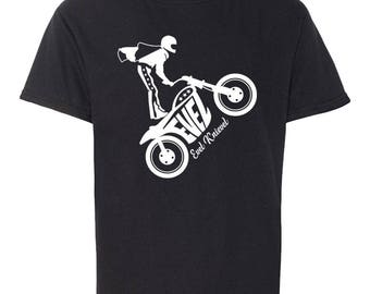 Evel Knievel Motorcycle Stunt Performer And Daredevil Silhouette On A Kids Youth Soft Style T-Shirt