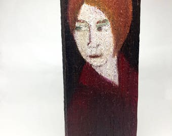 Painting on wood, decorative gift - female figure on red background