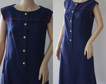 Classic 60s Navy Blue Sailor Dress