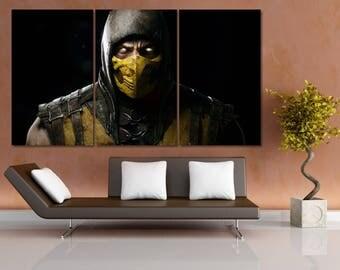 Mortal Kombat Canvas Print, Mortal Combat Wall Art, Video Game Poster, Video Game Art Print, Video Game Room Art, Retro Gaming Poster LC101