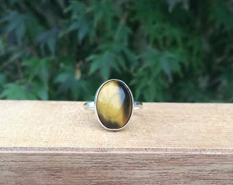 Silver Tigers Eye Ring / Sterling Silver Ring Size 9 / Round Tigers Eye Ring / Oval Tigers Eye Ring / Tiger's Eye Ring / Tiger Eye Ring