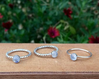 Moonstone Stacking Ring / Sterling Silver Moonstone Ring / Silver Moonstone Stack Ring / Rainbow Moonstone Stackable Ring / Little Moonstone