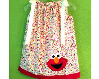 Elmo Dress // Elmo Outfit // Elmo Pillowcase Dress // Elmo Birthday Outfit // Packed Dot Fabric