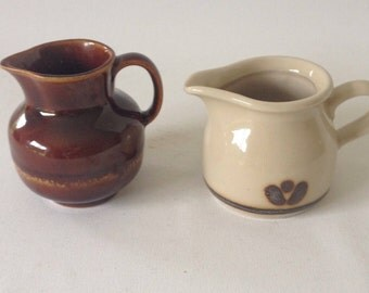 Two small vintage jug, Brown and beige, ceramic