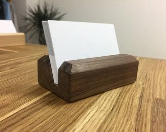 WALNUT Wood Business Card Holder - Wood Business Card Holder - Wood Business Card Display - Office Supplies - Walnut - Beech