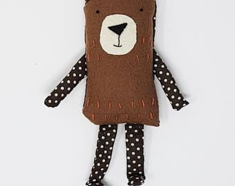 Brown bear soft toy, brown bear brown bear toy, brown bear Plush toy, bear kids gift, embroidered brown bear