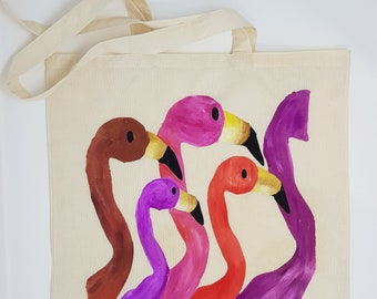 "Cotton bag ""Flamingos"", tote bag, shopping bag, shoulder bag , reusable bag,  hand painted bag, canvas bag"