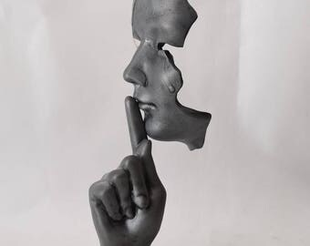 Mask Sculpture Silence.......... unique sculpture * * * Free Shipping Everywhere * * * Sculpture it makes a big impression on people !