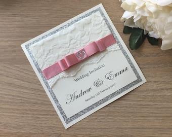 Lace glitter Wedding Invitation, Glitter Pocket Wedding Invitation, Lace Wedding Stationery, Handmade Invitation, Personalised, Vintage