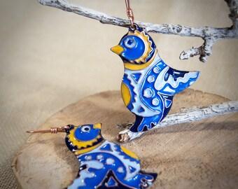 Blue bird earrings, enameled drop earrings