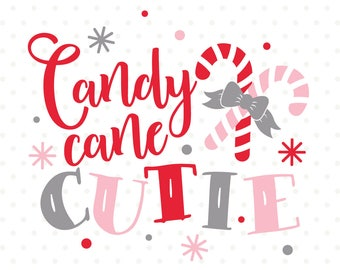 Candy Cane Cutie SVG file, Christmas HTV cut file, Christmas shirt Iron on file, Christmas vinyl craft design for girls, Christmas SVG