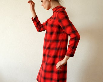 Vintage red dress black checkers/retro mini dress long sleeve