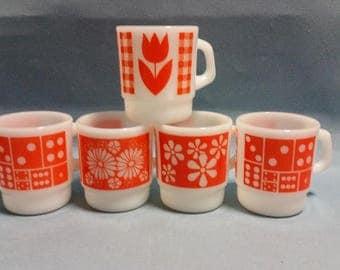 Fire King Mugs, Anchor Hocking Mugs, Termocrisa Mug, Set of 5, Fire King Orange Stacking Mugs, Assorted Design