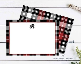 Personalized Stationery  Red plaid Flat Notecards - Personalized greeting cards/4.25x5.5 blank thank you cards/Monogrammed stationery