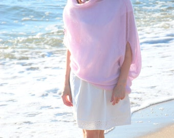 Mohair sweater, light pink sweater, women's sweater, women knit pullover, hand knit jersey, maternity apparel, girlfriend present, poncho