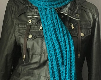 Hand Knit Scarf, Knitted Scarf, Blue Scarf, Ladies Scarf, Women's Scarf, Winter Scarf, Blue Knit Scarf, Handmade Scarf, Fashion Scarf