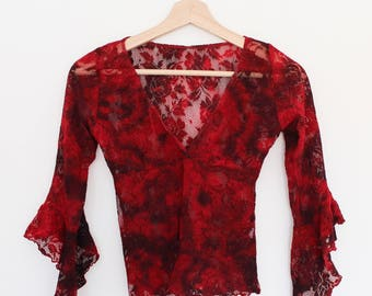 Vintage 80's Lace Top Flared Sleeves