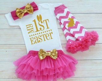 My 1st Easter, Easter Outfit, Baby Girl Easter Bodysuit, Baby Girl Easter, Baby Girl Easter Outfit, My First Easter, Baby Girl Easter Shirt