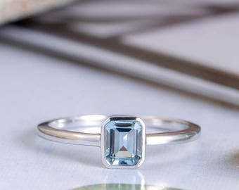Emerald Cut Aquamarine Engagement Ring White Gold Promise Unique Bridal Simple Solitaire Dainty Minimalist Anniversary Gift for Her