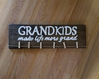 Grandkids picture display, personalized, grandkids make life grand, grandparent gift, photo display, Christmas gift, rustic wood sign, decor