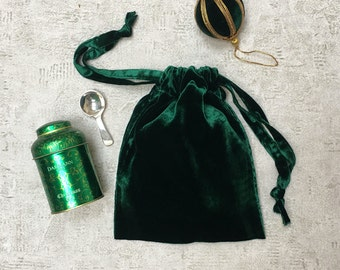 smallbag smooth silk velvet green tree - mixed cotton bag