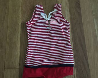 1960's red & white striped nautical lace up swimsuit - size 2t / 3t /4t