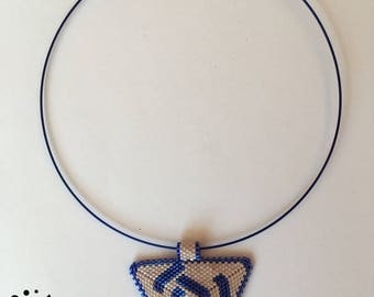Blue and beige necklace made with Miyuki Beads - triangle peyote -