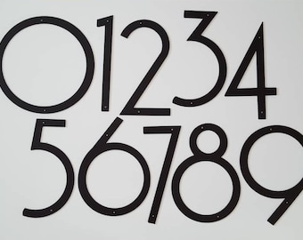 """Modern Font House Numbers. Large House Numbers. 8"""" Metal House Numbers. Buy One, Set of 2, 3, 4 or 5. Metal Wall Art.  Apartment Numbers."""
