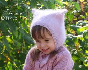 Kitty hat,kitty cat hat, Cat hat, Cat,Baby bonnet,Kids, Kid Mohire,Silk, Knitted hat,Knit,Kitty Ears,Animal Hats