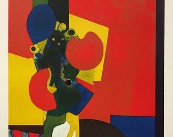 "ANDRE MINAUX (French, 1923-1986), ""Bouquet"", c.1977, original color lithograph, pencil signed."