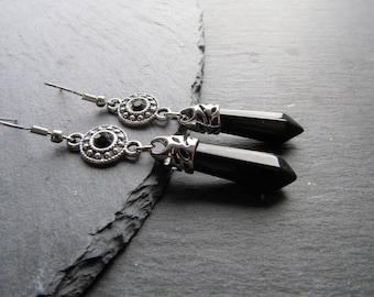 Black Onyx and Rhinestones Earrings, Gemstone Earrings, Black Earrings, Elegant Earrings, Black Onyx Earrings, Black Stone Earrings